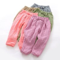 Wholesale Girl Knickers Pants - New Fashion Children Clothing Bloomers Girls Trousers Spring Kids Knickers Long Pants Casual Girls Soft Bowknot Pant 5 Colors A6206