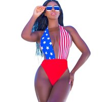 Backless étoiles rayures flag print body sexy Summer beach slim bodycon jumpsuit romper Casual playsuits femmes tops