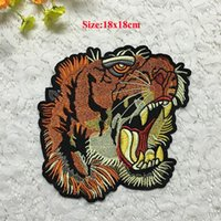 Wholesale Tiger Fabric Wholesale - 10pcs Motorcycle Jacket Patch For Clothes Tiger Jersey Sew On Patches parches Embroidered Fabric Patchwork Jeans Badge Appliques Accessories