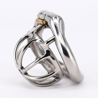 Wholesale Catheter Sizes - Super Small Male Chastity Cage Real Stainless Steel Chastity Belt Penis Lock with 4 size Arc Base Activities Lock Ring