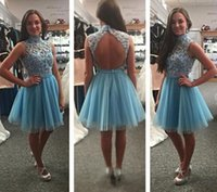 Wholesale White Crystal Puffy Cocktail Dress - High Neck Blue Short Homecoming Dresses Sequins Appliuqe Lace Tulle Backless Sexy Cocktail Party Dresses 2017 Short Prom Dresses Puffy Skirt