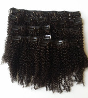 Wholesale afro human hair for black women online - Mongolian Afro Kinky Curly Clip In Human Hair Extensions For Black Women mm Natural Black g G EASY