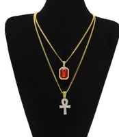 Wholesale 2017 Egyptian Ankh Key of Life Bling Rhinestone Cross Pendant Ruby Pendant Necklace Set Men Fashion Hip Hop Jewelry