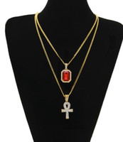 Wholesale Necklace Sets Bling - 2017 Egyptian Ankh Key of Life Bling Rhinestone Cross Pendant Ruby Pendant Necklace Set Men Fashion Hip Hop Jewelry