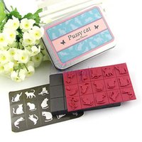 Wholesale Butterfly Stamp Set - Wholesale- Decoration Rubber Stamp Set (15ea) with Tin Case Pussy Cat and Butterfly HG118