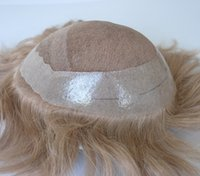 Wholesale Men Blonde Wig Hair - High Quality Blonde Color #17 natural hairpiece medium density PU around human hair toupee for men