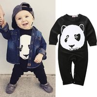 Wholesale Cheap Unisex Jumpsuit - baby boys rompers panda girls jumpsuits newborn children bodysuits long sleeve pants black style high quality fashion factory cheap price