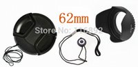 Wholesale 62mm Hood - Wholesale-62mm center pinch Snap-on cap cover +lens cap line+62mm lens hood for C N free shipping