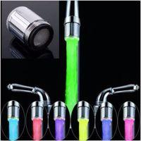adaptador de cocina al por mayor-7 colores LED cabeza de ducha de agua luz brillar LED grifo con adaptador para la mayoría grifo de la cocina grifo del baño