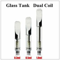 Wholesale Dual Atomizers - Pyrex glass cartridge CE3 atomizer vaporizer pen cartridges dual cotton coil 92a3 for thick CBD THC oil fit preheating battery touch battery