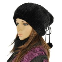 Wholesale Natural Mink Hats - Wholesale-2015 winter natural mink fur caps genuine mink fur knitted hat fashion women headwear