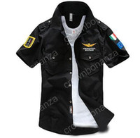 Wholesale Shirts Brands Logo - Aeronautica Militare Air Force One t shirt Men Brand Shirts Men Military Plane Pilot Shirt Chest Logo Embroidery Casual Shirt