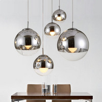 Wholesale hanging glass lamp shades - modern pendant lamps Mirror Ball Glass linear suspension pendant lights for dinning Room globe glass home bar cafe shade hanging lighting