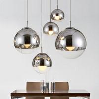 modernas lmparas de colgante espejo bola cristal de suspensin lineal colgante luces para comedor globo de la sala de cristal de vidrio barra de caf