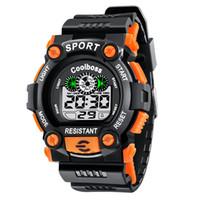 лучшие спортивные часы оптовых-1008Coolboss многофункциональные детские электронные часы 7 цвет световой будильник календарь время унисекс спортивные часы ребенок лучший подарок