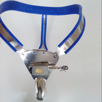 Wholesale Cock Cage Chastity Belt Device - 2017 stainless steel chastity device pants male lock bondage blue silicone liner chastity belt cock cage adult sex toys for men