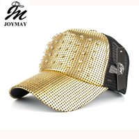 Wholesale Snapback Hats Rivets - 2017 Women Spring And Summer New Metal Rivet Adjustable Baseball Cap Mesh Snapback Hat Casquette Mix order 5 Colors Free Shipping