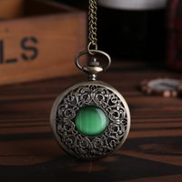 Wholesale Nostalgic Watch - Large carved hollow cover flip pocket watch inlaid green gemstone retro pocketbook nostalgic classic pocket watch