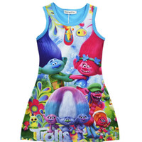 Wholesale Toddler Summer Dress Designs - Moana Dress Girl Princess baby Trolls dress For Toddler Kid Print Dress Children Dressing New Design Skirt