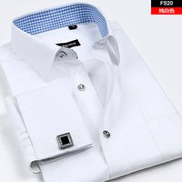 Wholesale Long French Nails - Wholesale- Hight qulity 2016 male French long-sleeve shirt cufflinks commercial male mens shirt nail sleeve slim easy care s-4xl big size