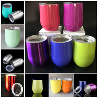 Wholesale Double Wall Color - 9 oz Double-Walled Vacuum Insulated Wine Mug Cups With Lid Stainless Steel Stemless Wine Glasses For Kitchen, Dining, Bar, Party SC001