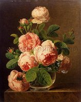 Wholesale Stunning Oil Paintings - Framed Jan Frans van Dael - Still Life of Roses in a Glass vase,Free shipping,Hand Painted Stunning Art oil painting Thick Canvas Multi size