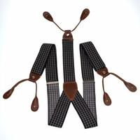 ingrosso reggicalze uomo bottoni-All'ingrosso-Uomo regolabile 6 pulsanti fori bretelle elastiche unisex a strisce Plaid floreale bretelle 3.5cm larghezza BD766