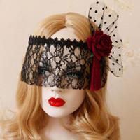 ingrosso maschera di bellezza per il viso-NUOVA Bellezza Donna Sexy Maschera di Pizzo Rosa Rossa Nero Maglia Maschera Principessa Moda Cosplay HALLOWEEN Accessori per feste