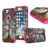 Wholesale Hybrid High Impact Iphone Cases - Life Tree Pattern 3 In 1 Full Protective Case Hybrid Silicone PC High Impact Resistant Cover For iPhone 6s 6 7 Plus Opp Bag