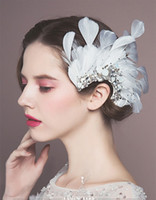 Wholesale gorgeous wedding hair online - New Arrival Gorgeous Feather Hair Clips Crystal Hair Ornaments Festival Decoration Gifts Wedding Photography Bridal Accessories