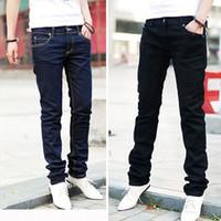 Wholesale Stylish Capris - Wholesale- Men Casual Jeans Pencil Pants Stylish Designed Straight Slim Fit Trousers