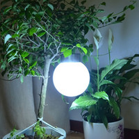 led outdoor waterproof tree Canada - Wholesale- New Outdoor Solar Hanging Lights Ball Shape ABS+Stainless Steel White Solar Garden Lamp Waterproof Led Lawn Tree Light White