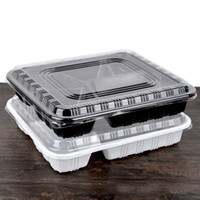 Wholesale Disposable Lunch - 22*19*4.5Cm Disposable Lunch Box Plastic Food Container Square Separate 3 4 5 Parts Take Away White Color Microwaveable Supplies 500P