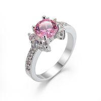 Wholesale Wholesale Womens Diamond Rings - Gemstone Rings Pink Zircon 18K Real Gold Plated Statement Zircon Engagement Rings Diamond Womens Silver Ring