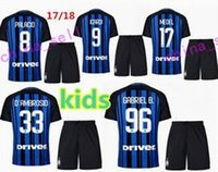 Wholesale Best Shirt Kid - best quality 17 18 kids Inter soccer jersey kits 2017 2018 boy JOVETIC ICARDI PALACIO KONDOGBIA MEDEL CANDREVA Milan Children football shirt