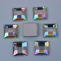 Wholesale Square Crystal Beads 14mm - 100PCS 14mm Square shape AB color Acrylic Rhinestone Beads Crystal Flatback beads DIY popular Accessory ZZ18