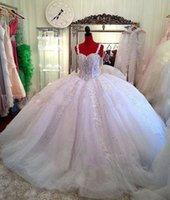 Wholesale Vintage Ball Gowns Sale - Hot Sale Sweetheart Neck Ball Gown Lace Up Plus Size Wedding Dresses Lace up Back Appliques Beaded Bridal Wedding Gowns Vestido De Noiva