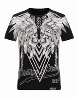Wholesale 38 Sleeve Shirt - Hot Brand Mens Short Cotton Short Fit Slim Casual Tee Print SKulls Rhinestone desinger MENS T-shirts Cotton Top quality P18244-38