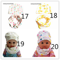 Wholesale Boys Grid Set Suits - 2017 new cotton star mouse love xx army grid print baby beanies +scarf sets boys girls caps & collars suits children kids hats 32719250828
