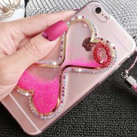 Clear case shine - Luxury glitter Heart Running Quicksand Liquid Dynamic Hard Case clear transparent shining Cover For iphone s plus goophone i7 i6s