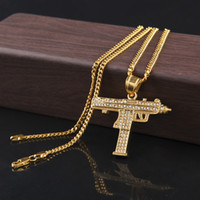 Wholesale Black Gun Charms - Fashion Gold Plated Uzi Gun Pendant Necklace Men Alloy Full Rhinestone Bling Submachine Gun link chain Pop Wholesale