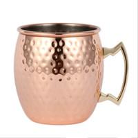 cerveza rosa al por mayor-Taza de cobre de 500 ml taza de cerveza de acero inoxidable taza de mula de moscú oro rosa martillado cobre plateado bebidas espirituosas patrón de utensilio taza lisa Whosale