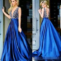 Wholesale Hunter Matte Satin - New Arrival Sexy V Neck Blue Prom Dress 2017 Pearls Beading Long Evening Formal Party Gowns Matte Satin Saudi Arabia Lady Dress Custom Made