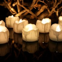Wholesale Christmas Flickering Tea Lights - Warm White Flickering Flameless Candles with Timer Christmas Wedding Party LED Candle Light Battery Operated Tea Lights Electronic Candles