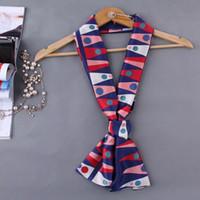Wholesale Black White Narrow Tie - 12 Colors Summer Fake Silk Scarf Women Fashion Ladies Satin Scarves Printing Female Long Narrow Bag Strip Towels Tie 145*18CM SS-021