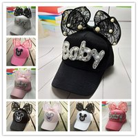 Wholesale Children S Winter Hats Girls - 2017 new fashion Spring and Autumn Children 's Hat baby Girl' s Super cute Bowknot Lace Mesh Baseball Cap kids Hat beaies