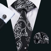 Cheap Wholesale Silk Ties Gravatas de seda dos homens Black Floral Necktie Handkerchief Cufflinks Set for Formal Causual Occasion N-1599