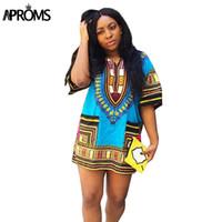 Wholesale Wholesale Work Dresses For Women - Wholesale- Boho Women Autumn Tunic Dress Hippie Punk Traditional Dashiki Top Shirt Dresses for African Clothing Plus Size 10744