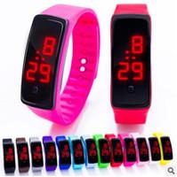 Wholesale Yellow Plastic Bracelets - 2017 Sport LED Watch Candy Jelly men women Silicone Rubber Touch Screen Digital Waterproof Watches Bracelet Mirror Wristwatch