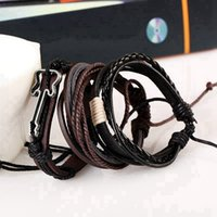 Wholesale Leather Guitar Wristbands - 1pcs Rope guitar charm Black Leather Bracelets&Bangles Multilayer Braided Wristband Bracelet Men pulseira Fashion Accessories Retro